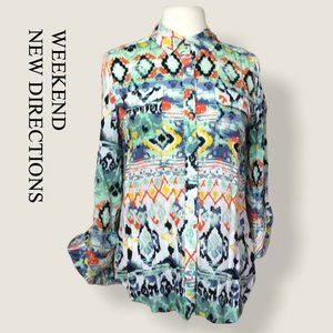 NEW DIRECTIONS   watercolor southwest pattern top